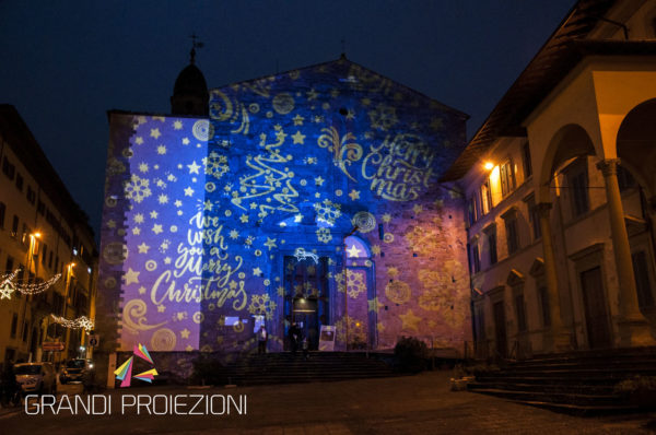 Proiezione di fantasia a tema natalizio, Piazza della Badia, Arezzo