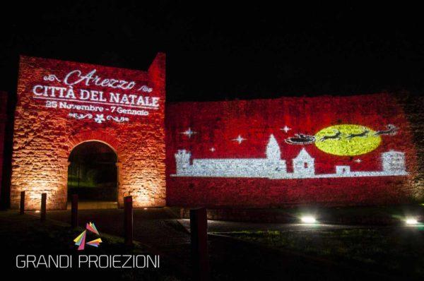 Proiezione in occasione degli eventi di natale, Porta Stufi, Arezzo