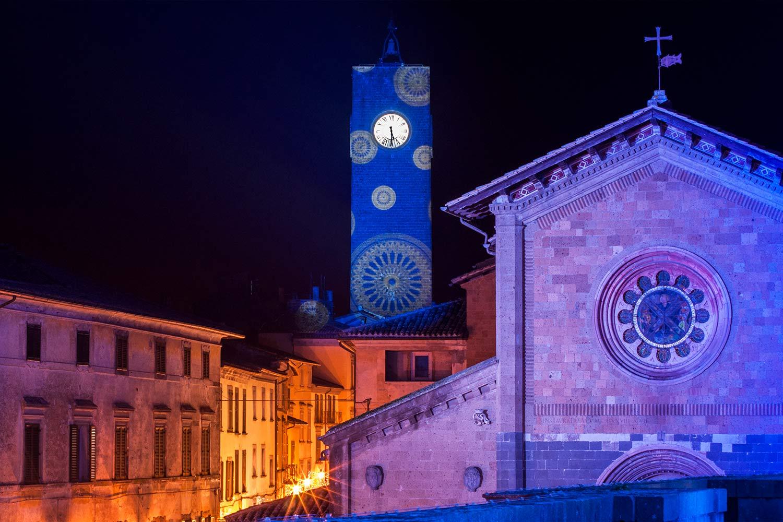 Illuminazione architetturale facciata Torre Del Moro Orvieto