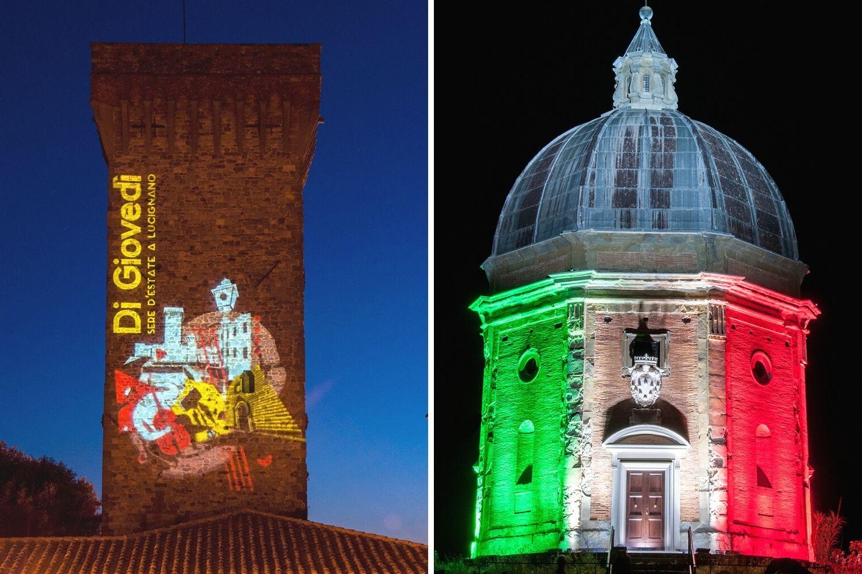 Proiezione su torre e illuminazione Tricolore