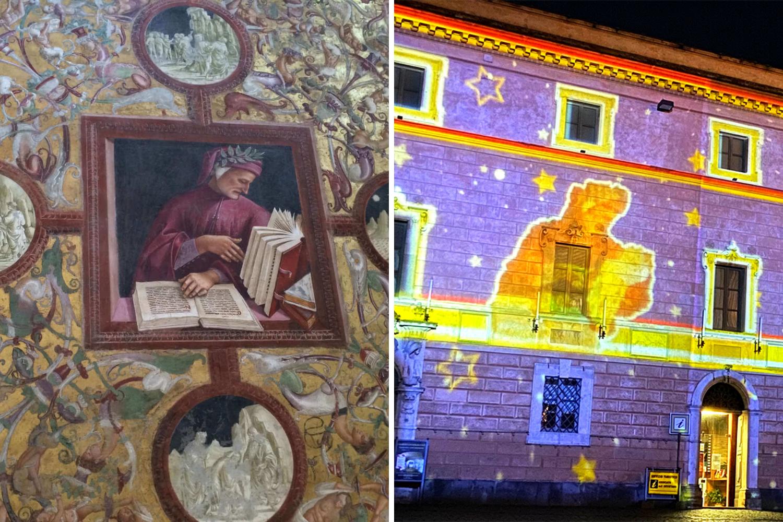 Riproduzione in proiezione di Dante con fonte originale